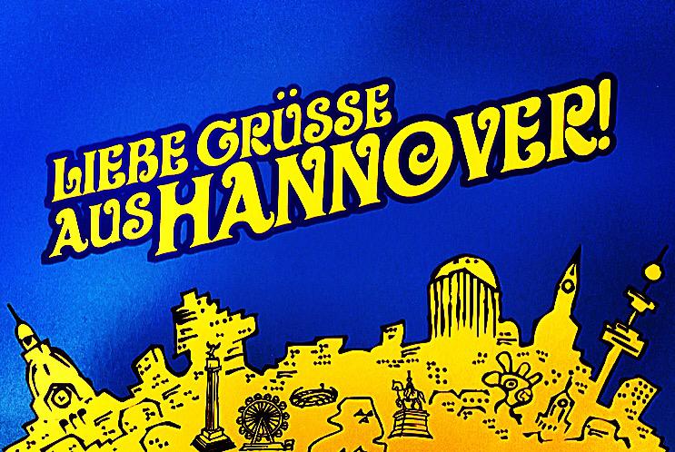 Postkarte, Hannover, Liebe Grüße, Zeichnung, blau, gelb